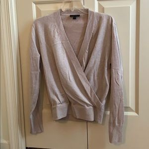 J Crew Pink Metallic Feux Wrap Sweater